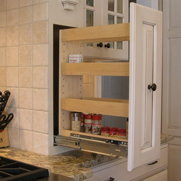 Pull-Out Spice Rack Built Into Custom Wood Hood (Open)