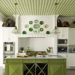 This is an example of a traditional kitchen in New York with an undermount sink, raised-panel cabinets, green cabinets, white splashback and stainless steel appliances.