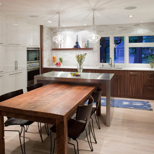 Contemporary eat-in kitchen ideas - Example of a trendy eat-in kitchen design in Minneapolis with flat-panel cabinets and stainless steel appliances