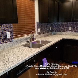 Purple glass silver metal stainless steel wall tile glass mosaic SSMT025