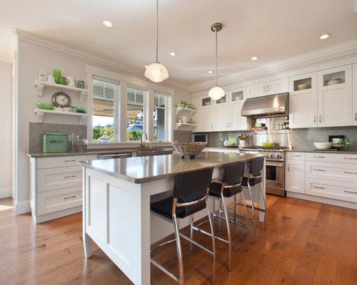 Grey Backsplash White Kitchen Houzz