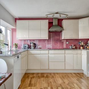Ispirazione per una piccola cucina minimal con lavello sottopiano, ante lisce, ante bianche, top in granito, paraspruzzi con lastra di vetro, elettrodomestici in acciaio inossidabile, parquet chiaro, paraspruzzi rosa e nessuna isola