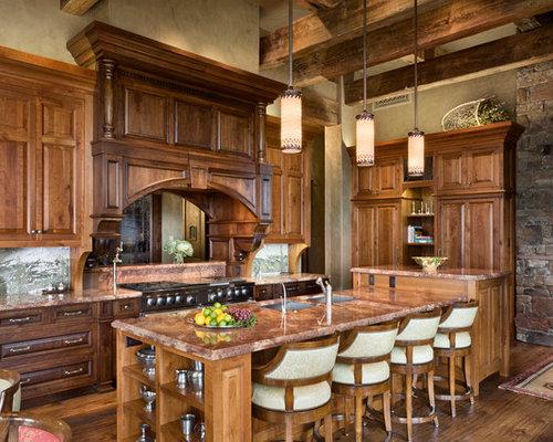 Dark Wood Kitchen dark wood kitchen cabinets | houzz