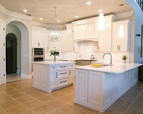 Quartz Solid Slab Backsplash Kitchen Remodel