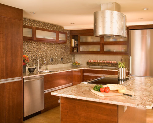 Metallic Mosaic Tile Backsplash Home Design Ideas