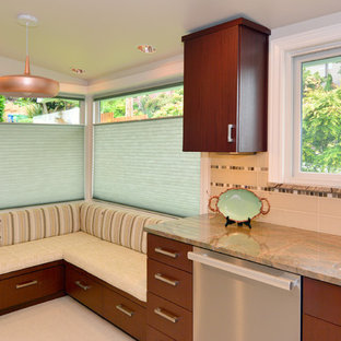 Design ideas for a mid-sized midcentury l-shaped separate kitchen in Seattle with a double-bowl sink, flat-panel cabinets, dark wood cabinets, marble benchtops, beige splashback, ceramic splashback, stainless steel appliances, porcelain floors, no island, beige floor and green benchtop.