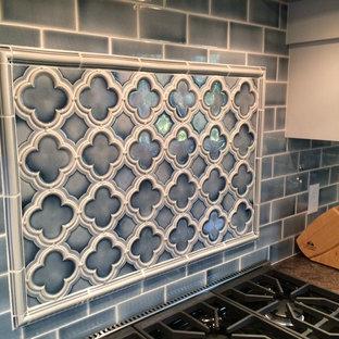 Mid-sized victorian eat-in kitchen designs - Inspiration for a mid-sized victorian l-shaped eat-in kitchen remodel in San Francisco with granite countertops, blue backsplash, ceramic backsplash and a peninsula