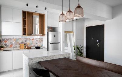 Houzz Tour: Terrazzo and Tiles Add a Flourish to This White Flat