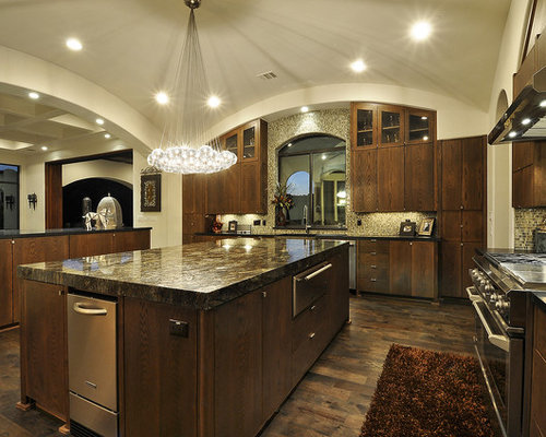 Tuscan Kitchen Photo In Austin With Mosaic Tile Backsplash, Stainless Steel  Appliances, Brown Backsplash