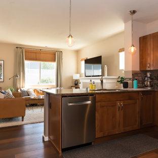 シアトルの小さいミッドセンチュリースタイルのおしゃれなキッチン (シルバーの調理設備、クッションフロア、赤い床、シェーカースタイル扉のキャビネット、中間色木目調キャビネット、御影石カウンター、ベージュキッチンパネル、ボーダータイルのキッチンパネル、グレーのキッチンカウンター) の写真