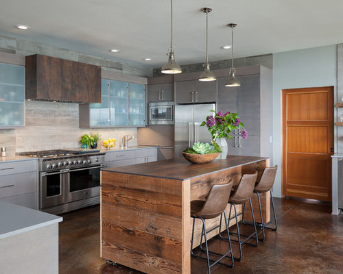 best 15 beach style kitchen with flat-panel cabinets ideas