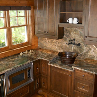 Kitchen   Rustic Kitchen Idea In Minneapolis With Beaded Inset Cabinets,  Dark Wood Cabinets,