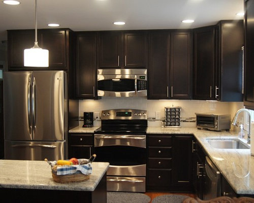 Dark chocolate cabinets houzz for Chocolate brown cabinets