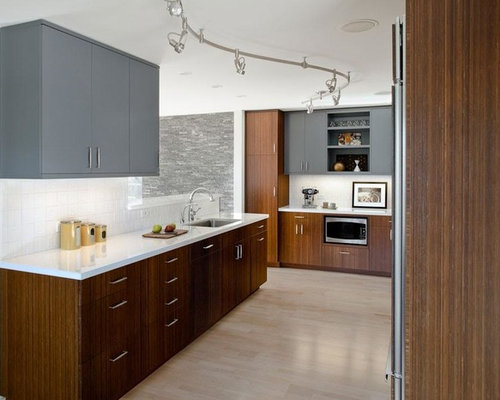 Example Of A Trendy Kitchen Design In San Francisco With Flat Panel Cabinets,  Gray