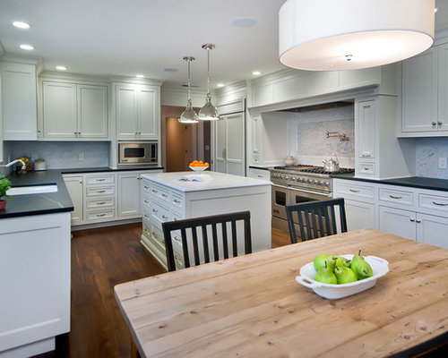 Traditional u shaped eat in kitchen idea in San Francisco with  recessed panelBreakfast Table Light   Houzz. Kitchen Breakfast Table Designs. Home Design Ideas