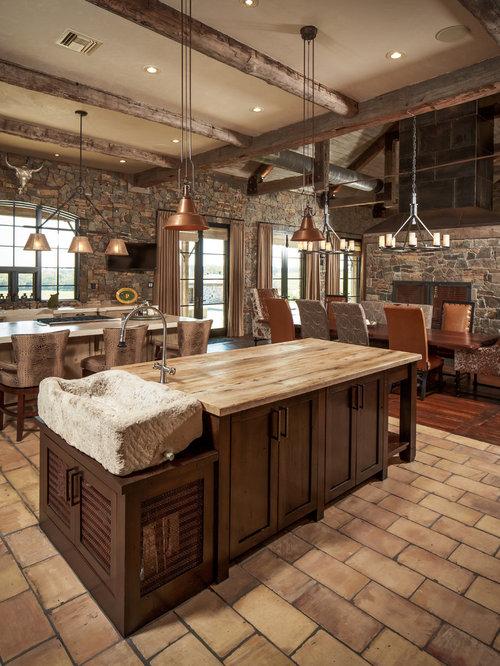 Spanish tile floor houzz for Kitchen design 14x14