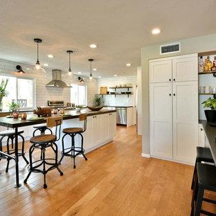 サンディエゴの大きいインダストリアルスタイルのおしゃれなキッチン (シングルシンク、シェーカースタイル扉のキャビネット、白いキャビネット、クオーツストーンカウンター、白いキッチンパネル、サブウェイタイルのキッチンパネル、シルバーの調理設備、淡色無垢フローリング、茶色い床) の写真