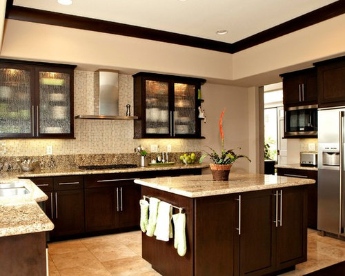 ... Kitchen Design Photos with Laminate Countertops and Limestone Floors