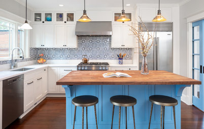 6 Beautiful Blue-and-Wood Kitchens
