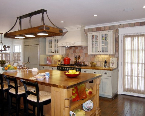 galley traditional kitchen design photos with colored appliances