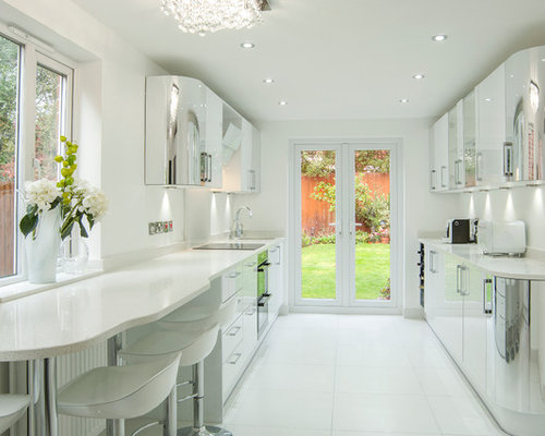 This Is An Example Of A Contemporary Galley Kitchen In Other With A  Single Bowl