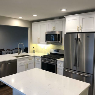 Modern single-wall eat-in kitchen in Chicago with a single-bowl sink, shaker cabinets, grey cabinets, quartz benchtops, stainless steel appliances, vinyl floors, with island, beige floor and white benchtop.