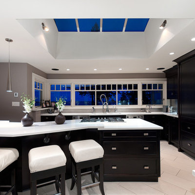 Inspiration for a contemporary kitchen remodel in Vancouver with shaker cabinets and black cabinets