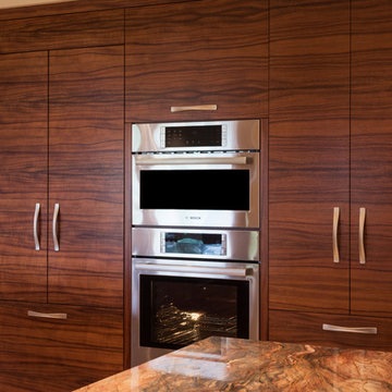 Recessed Integrated Appliance Wall in Artistic Wailea Oceanview Remodel
