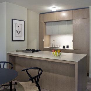 Inspiration pour une cuisine parallèle minimaliste avec un placard à porte plane, des portes de placard en bois clair et un évier 1 bac.