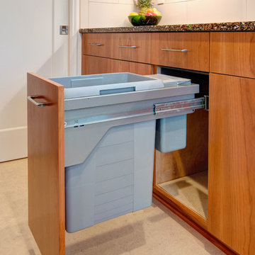 Recycled Glass Countertop and Custom Cherry Cabinets