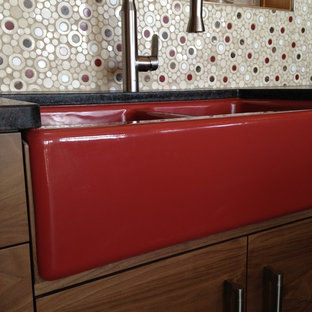 Red Accents in Kitchen; Jones Renovation