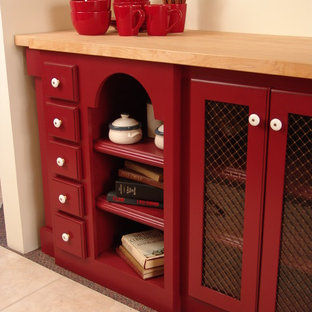 Sturgeon Bay showroom red base cabinet