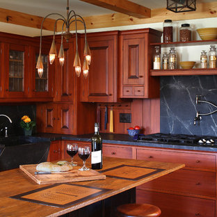 Country Kitchen Photo In Portland Maine With A Farmhouse Sink Raised Panel Cabinets