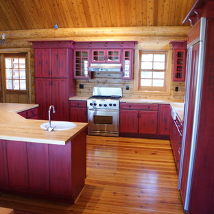 Red distressed kitchen cabinets