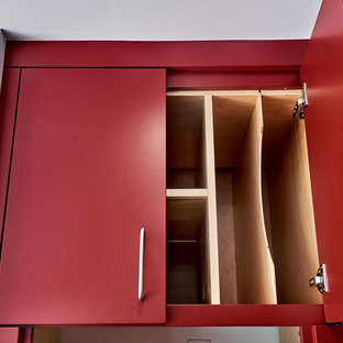 Red Flat Panel Kitchen Cabinets