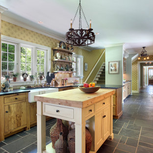 This is an example of a country galley kitchen in Grand Rapids with a farmhouse sink, flat-panel cabinets, medium wood cabinets, coloured appliances and with island.