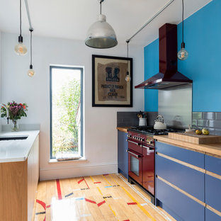 Inspiration For A Small Contemporary Galley Kitchen In Surrey With A  Submerged Sink, Flat