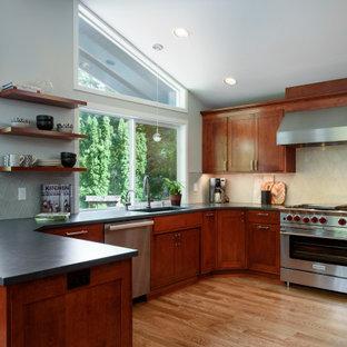 シアトルの広いトランジショナルスタイルのおしゃれなキッチン (アンダーカウンターシンク、落し込みパネル扉のキャビネット、クオーツストーンカウンター、グレーのキッチンパネル、シルバーの調理設備、淡色無垢フローリング、黄色い床、黒いキッチンカウンター、濃色木目調キャビネット) の写真