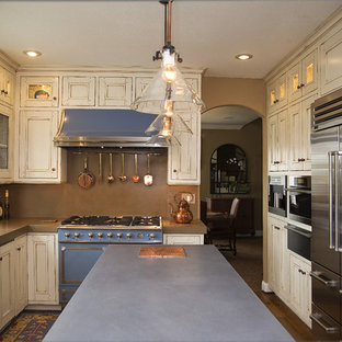 Inspiration for a traditional l-shaped separate kitchen in San Francisco with an integrated sink, recessed-panel cabinets, distressed cabinets, concrete benchtops, brown splashback and coloured appliances.