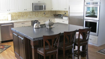 Refacing with raised panel off white cabinets and expresso stained island