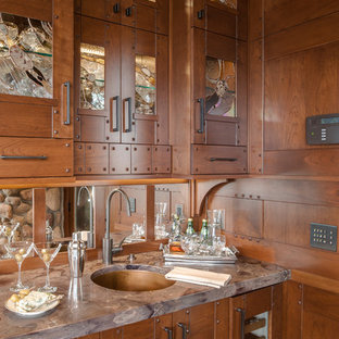 Traditional kitchen pictures - Inspiration for a timeless kitchen remodel in Other with glass-front cabinets and dark wood cabinets
