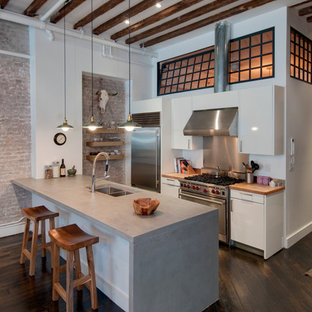 This is an example of an industrial galley kitchen in New York with concrete benchtops, stainless steel appliances, a double-bowl sink, flat-panel cabinets and white cabinets.