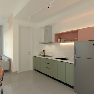 Midcentury l-shaped kitchen in Other with a single-bowl sink, open cabinets, pink cabinets and white benchtop.