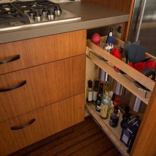 サンフランシスコの小さいエクレクティックスタイルのおしゃれなキッチン (アンダーカウンターシンク、フラットパネル扉のキャビネット、中間色木目調キャビネット、珪岩カウンター、マルチカラーのキッチンパネル、ガラスタイルのキッチンパネル、シルバーの調理設備の、コルクフローリング、アイランドなし) の写真
