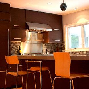 シカゴの中サイズのコンテンポラリースタイルのおしゃれなキッチン (アンダーカウンターシンク、フラットパネル扉のキャビネット、濃色木目調キャビネット、コンクリートカウンター、茶色いキッチンパネル、ガラス板のキッチンパネル、シルバーの調理設備、無垢フローリング) の写真