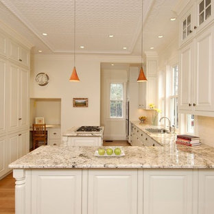 Traditional kitchen designs - Example of a classic kitchen design in Boston with raised-panel cabinets, beige cabinets and paneled appliances