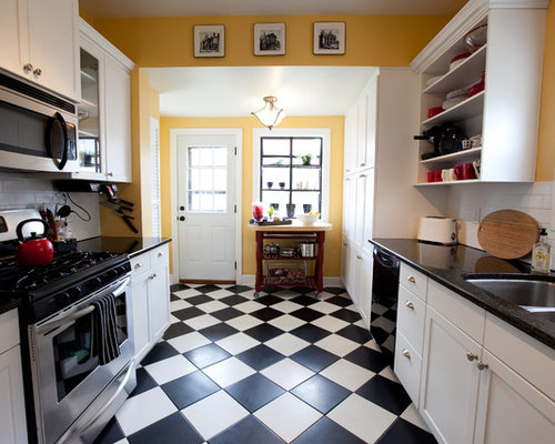 Black white kitchen tile houzz Kitchen ideas with black and white tiles