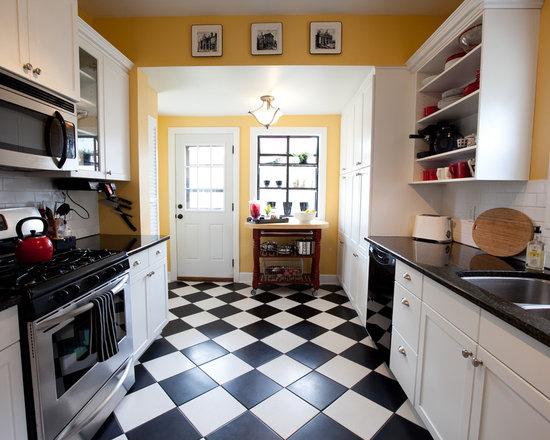 White And Black Traditional Kitchen black white kitchen floor | houzz