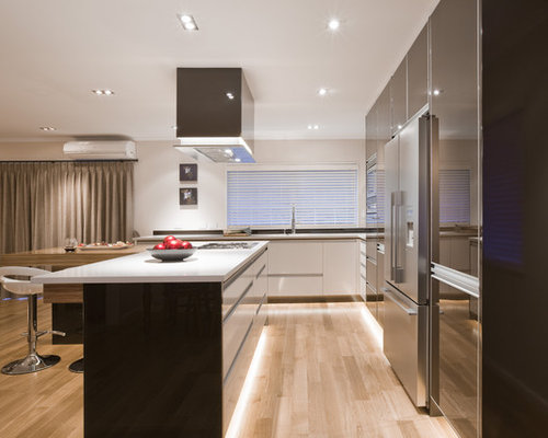 baseboard lighting. perfect lighting large trendy lshaped light wood floor eatin kitchen photo in los angeles to baseboard lighting a