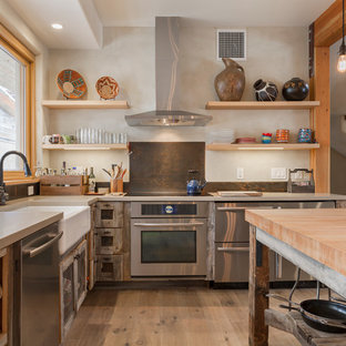 Large mediterranean kitchen remodeling - Example of a large tuscan l-shaped medium tone wood floor kitchen design in Salt Lake City with a farmhouse sink, medium tone wood cabinets, stainless steel appliances, an island, glass-front cabinets, wood countertops and brown backsplash